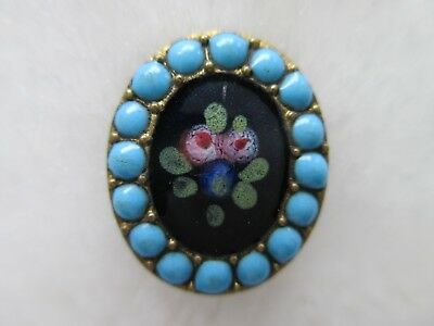 *ANTIQUE 19th C~OUTSTANDING ENAMEL FLORAL PIC~TURQUOISE DOTS~BRASS BUTTON 5/8""