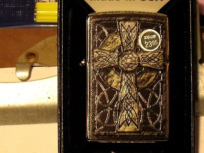New ZIPPO USA Windproof Oil Lighter 02223 Celtic Cross Design Jesus Died for Us
