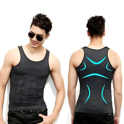 Men Waist Trainer Vest Sauna Sweat Body Shaper Slim Trimmer Lose Weight Shirt HS