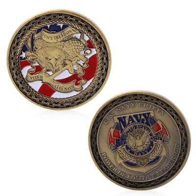 Gold Plated U.S. Navy Chiefs Commemorative Challenge Coin Physical Collection