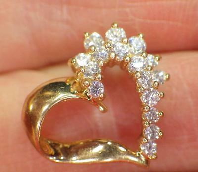 14K Yellow GOLD Heart Pendant Hallmarked 17mm Across Cubic Zerconia 2.194 Grams
