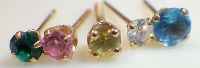 FIVE (5) Single 14K Yellow Gold Post Earrings or Nose .84 Grams Diamond, Emerald
