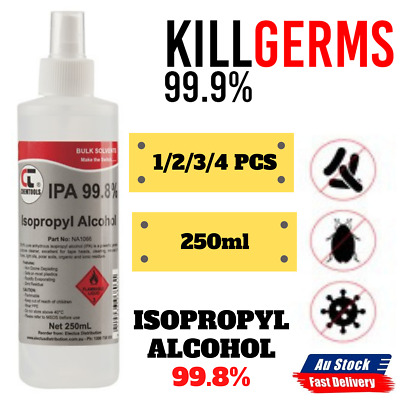 1x 2x 3x 4x New Isopropyl Alcohol 99.8% Spray 250ml Bottle House Office Cleaning