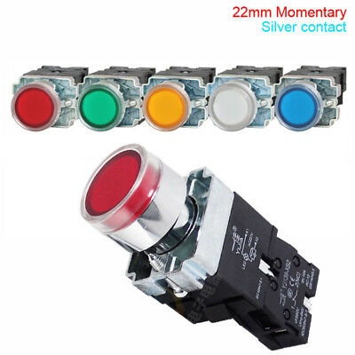 22mm 6/12/24/220V XB2 Metal Round Illuminated Momentary Push Button Switch 10A