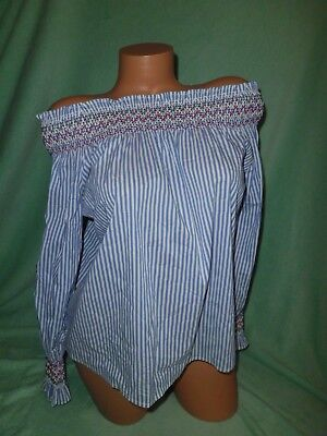 Women's Romeo & Juliet Couture off shoulder long sleeve striped boho shirt