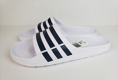 72c623248 ADIDAS DURAMO SLIDE Sandals White Navy Blue Men s Size 12 -  24.99 ...