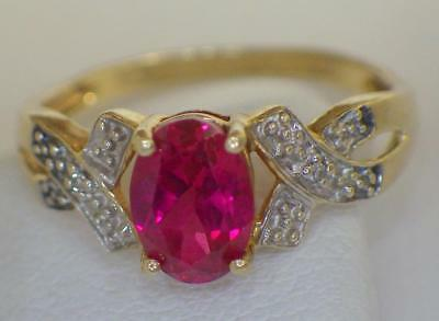 10K GOLD Oval Cut 7mm Ruby Ring 1.838 Grams Size 7 Hallmarked
