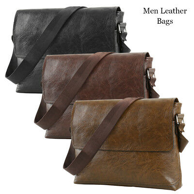 jeep Magnetic Buckle Men Retro Leather Messenger Shoulder Bag Satchel Business