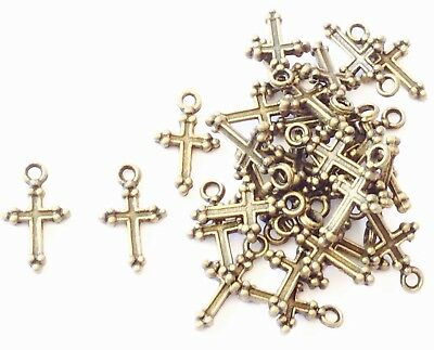34 Antique Bronze Tiny Cross rosary charms-Beads- Rosary Findings