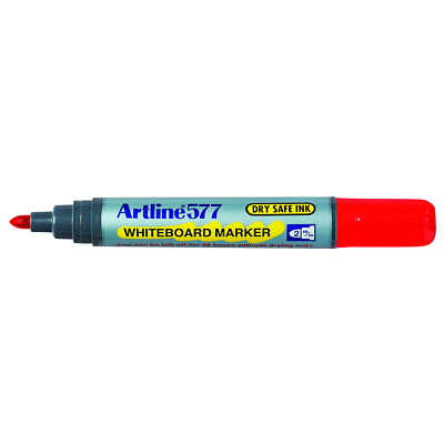Artline 577 WHITEBOARD MARKER 12Pieces 2mm Point, Dry Safe Ink, Bullet Nib RED