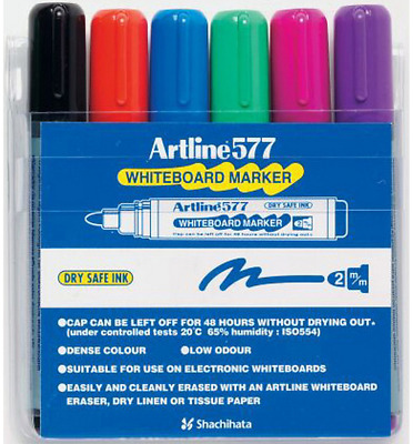Artline 577 WHITEBOARD MARKER 6Pcs Assorted Colour, 2mm Point, Dry Safe Ink