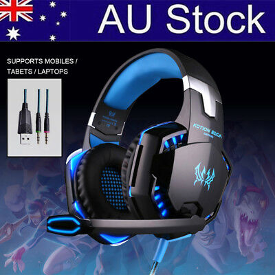 Gaming Headset LED Headband Luminous Headphones + Microphone Mic For PC USB New
