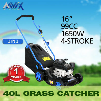 "AAVIX New 16"" 406MM Lawn Mower Engine 4 Stroke Push Lawn mower Catch Mulch"