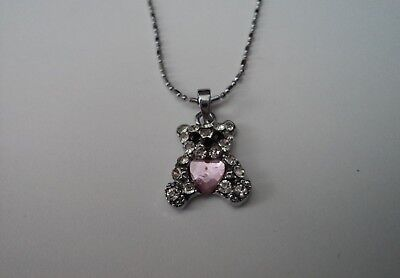Sweet Baby Girls/toddlers Silver Teddy Bear Design White/pink Crystal Necklace
