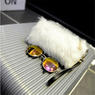 Women Elegant Wallet Lady Purse Faux Fur Wedding Party Handbag one