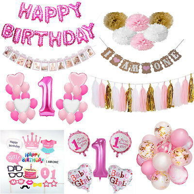 Baby Shower Pink Girl Foil Balloon Set 1-12th Banner Bunting 1st Birthday Party