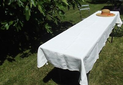 Antique French Country Long Table Cloth Chanvre Hemp gross grain Linen fabric
