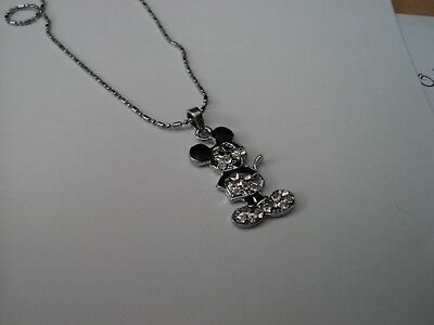 Popular Boy/girl Mickey Mouse White Crystal Necklace Free Post In Oz