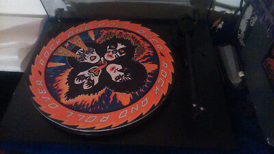 """KISS ROCK AND ROLL OVER turntable mat 12"""" LP Improve sound slipmat"""