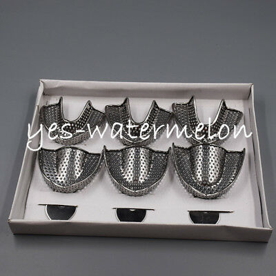 Dental Autoclavable Metal Impression Tray Stainless Steel Upper Lower Perforated