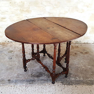 Late C17th Oak Gateleg Drop Leaf Oval Table (Jacobean William & Mary Dining)