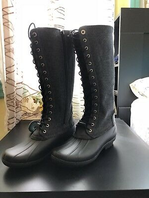 b6169fb46e97 NEW  150 MICHAEL Kors Easton Bootie Rain Boot Lace Up Duck Boots sz ...