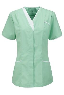 Asymmetrical Vneck Tunic Uniform Nhs Aqua Mint Pale Green / White Trim Ins33Aq