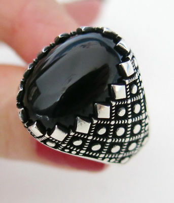 Sterling 925 Silver Mens Jewelry, Onyx Gemstone  Men's Ring