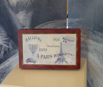 Antique Vintage Style Distressed Shabby Chic Collectable Paris Wood Shallow Box