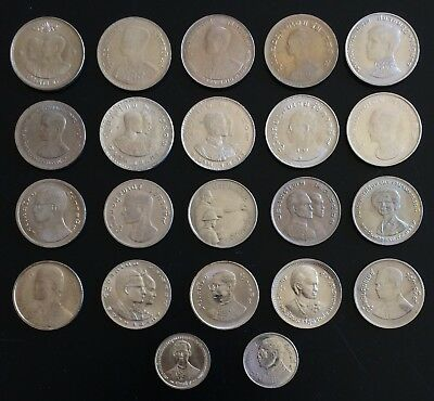 Thailand Coin 22 x 1 Baht  Complete Set Commemorate & Current from BE 2500 UNC.