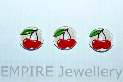 2 x Cherries on White 12x12mm Glass Cabochons Cameo Dome Fruit Retro Cherry