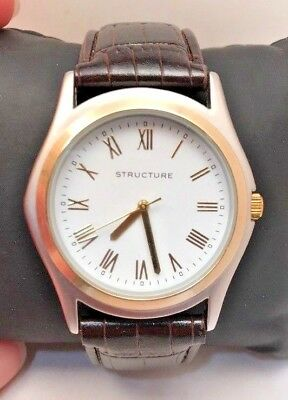 Men's Structure Analog Watch Brown Strap Two Tone White Dial 62089-H51