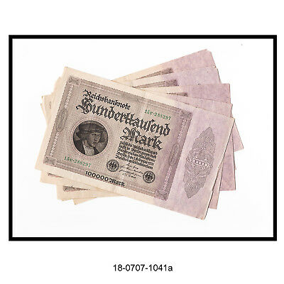 Lot of Five 1923 German 100,000 Mark Bank Notes (In Consecutive Order)