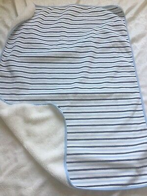 TCP The Children's Place Blue White Striped Baby Boy Blanket Plush Sherpa Soft