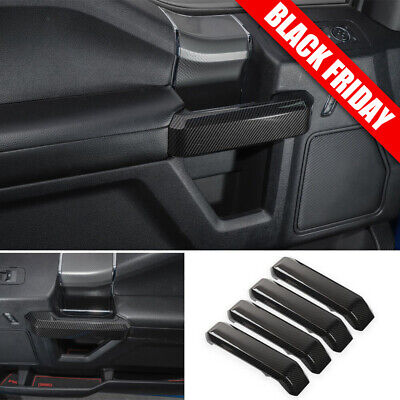 Carbon Fiber Car Interior Decor Door Handle Cover Trim For Ford F150 2015-17 ABS