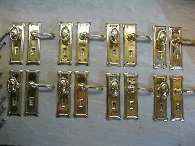 8 Pairs Original Reclaimed Early 20`s / 30`S Brass Knobs / Levers handles 0227