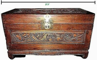 "+Vintage Antique Carved Wood Oriental Blanket Chest 27 1/2"" x 16"" x 13 5/8"""