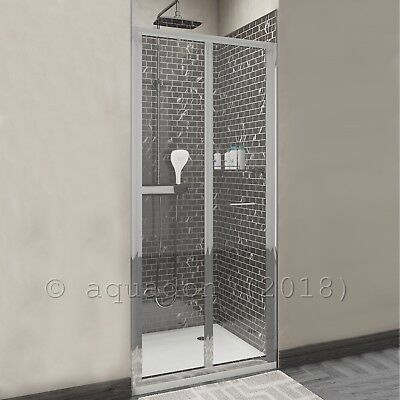 900mm Bi-Fold Bifold Chrome Shower Enclosure Sliding Door Screen Glass