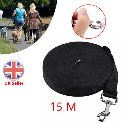 Pet Dog Puppy Training Lead 50ft 15M Long Line Leash Collar Harness Rope Black