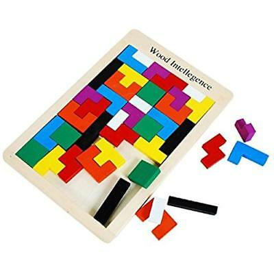 Wooden Tetris Puzzle 40 Pcs Brain Teasers Toy For Kids, Tangram Jigsaw Games New