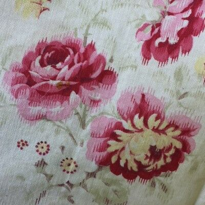 Romantic Antique FRENCH FLORAL FABRIC Pink Roses Faded Shades Shabby chic Pieced
