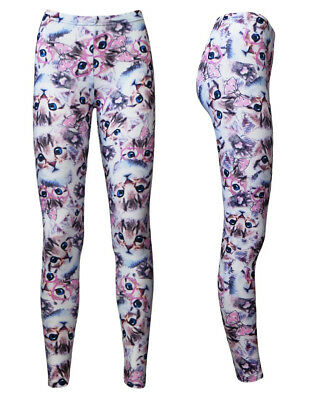 cfa4b329f8 Cute Kawaii Kitty Cat Kittens With Paw Glasses Bow Alternative Printed  Leggings