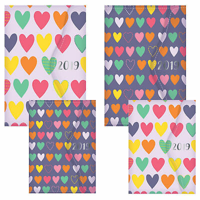 2019 Day a Page A5 Diary PU Cover, Magnet Close - Hearts  - Choose Design