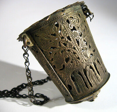 Vintage Magnificent Bronze Sanctuary Lamp Medieval or post Medieval #946