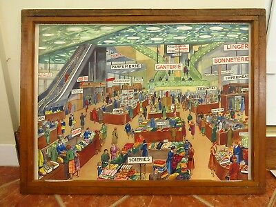 Vintage Les Editions Rossignol School Chart Of Department Store & Mountain Train