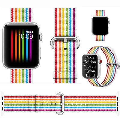 2018Pride Edition Woven Nylon Band Rainbow Stripe For Apple Watch 38mm Series1-3