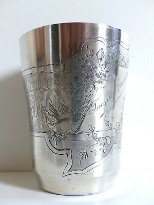 SUPERB ANTIQUE FRENCH STERLING SILVER 950 TIMBALE WINE CUP w. BIRD & BUTTERFLY