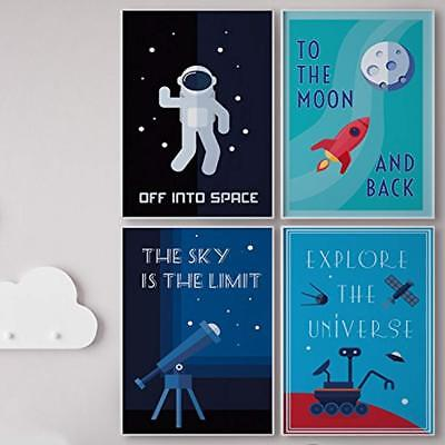 LIMITED EDITION SPACE WALL ART: Set Of FOUR Posters For Kids, 4-Pack Children