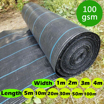 1-100m Weed Control Fabric Ground Cover 100gsm Membrane Landscape Mulch Garden