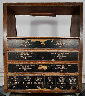 Antique Ace Combs Store Display 4 Drawer Wooden Cabinet